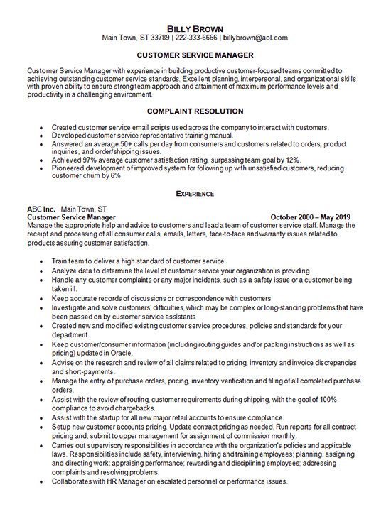 Customer Service Manager Resume Example