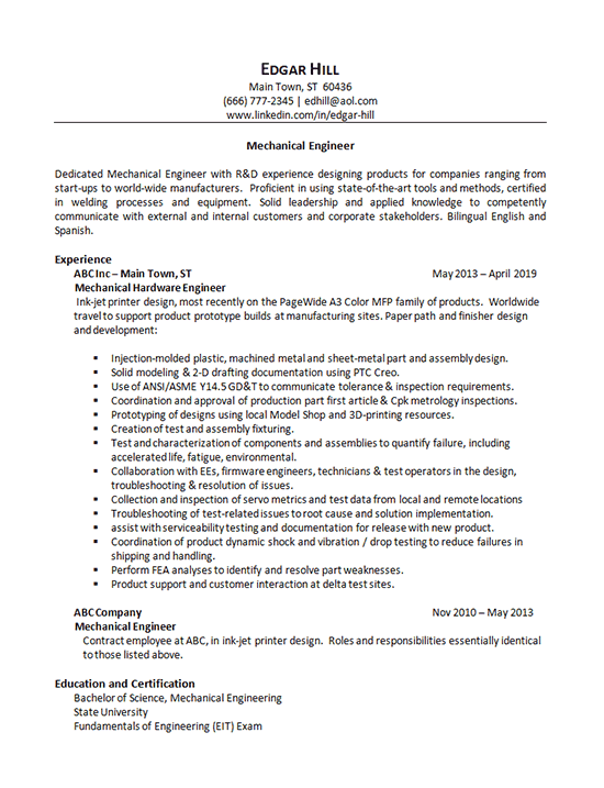 Mechanical Engineer Resume Example Research Computer Hardware
