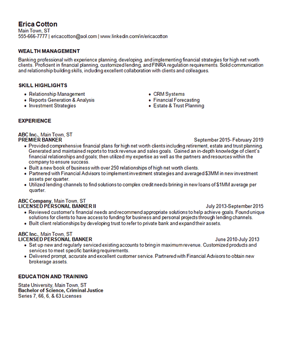wealth management resume example