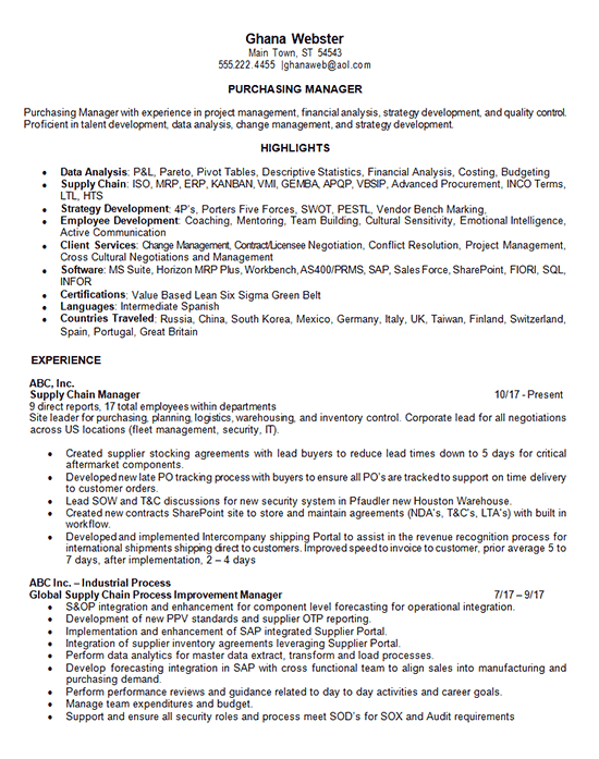 Purchasing Manager Resume Example