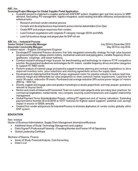 Purchasing Manager Resume Example Supply Chain