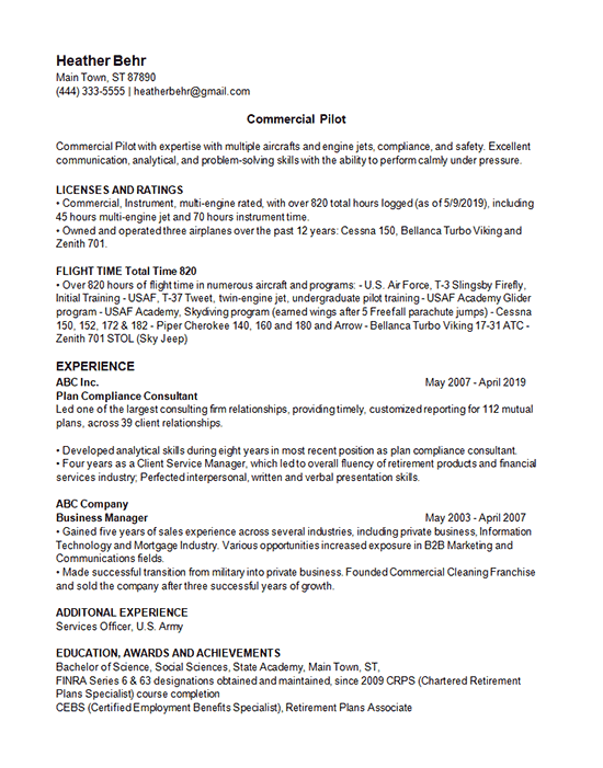 commercial pilot resume example - aviation